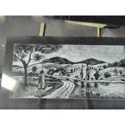 Gravírování - krajinka velikost 15 x 20 cm