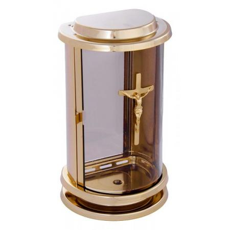 Lucerna na hrob A-01e1k zlatá s křížem